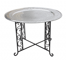 Moroccan  Vintage Aluminium Tray Or Table with Wrought Iron Legs Diameter 76 cm. 30'' (ALT14)